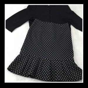 WHBM TRUMPET SKIRT BLACK WITH WHITE DOTS 0